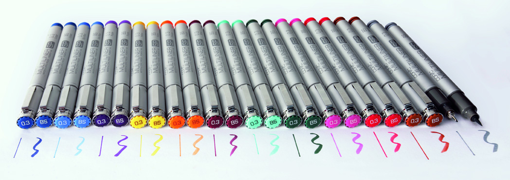 Les 12 couleurs du COPIC MULTILINER SP