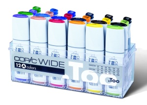 Copic Wide Set A: 12 couleurs + 12 recharges d'encre