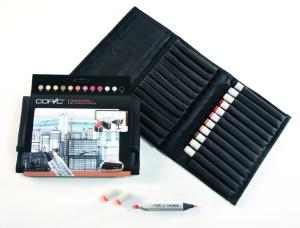 Set Copic Marker: 12 couleurs architecture + trousse gratuite